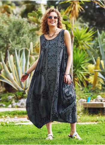 Gri Desenli Bohem Kayık Yaka Cepli Uzun Günlük Elbise