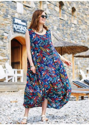 Lacivert Desenli Bohem Kayık Yaka Cepli Uzun Günlük Elbise