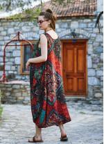 Siyah Desenli Bohem Kayık Yaka Cepli Uzun Günlük Elbise