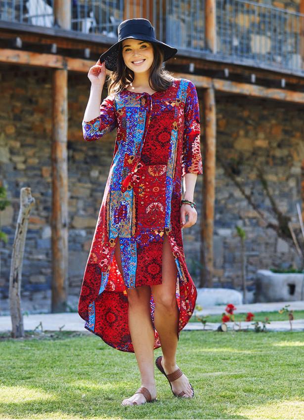 Kırmızı Bohem Truvakar Kol Yırtmaçlı Tunik Elbise