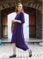Mor Bohem Truvakar Kol Yırtmaçlı Tunik Elbise