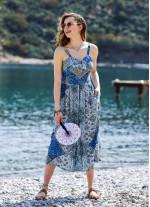 Bohem Tarz Düğmeli Geniş Askılı Uzun Mavi Desenli Elbise