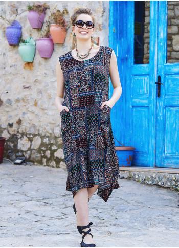 Kahve Desenli Kayık Yaka Bağcıklı Yazlık Cepli Uzun Elbise