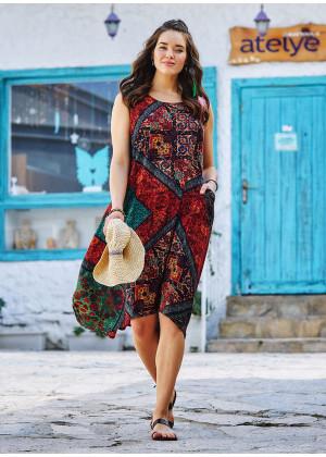 Otantik Desenli Kayık Yaka Bağcıklı Yazlık Cepli Uzun Elbise
