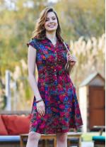 Roma Desen Gömlek Yaka Ön Düğmeli Kısa Kollu Kloş Elbise