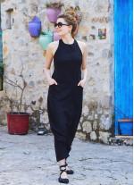 Dekolteli Fermuarlı Cepli Kadın Siyah Şalvar Tulum