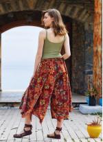 Çiçek Desenli Beli Lastikli Pantolon