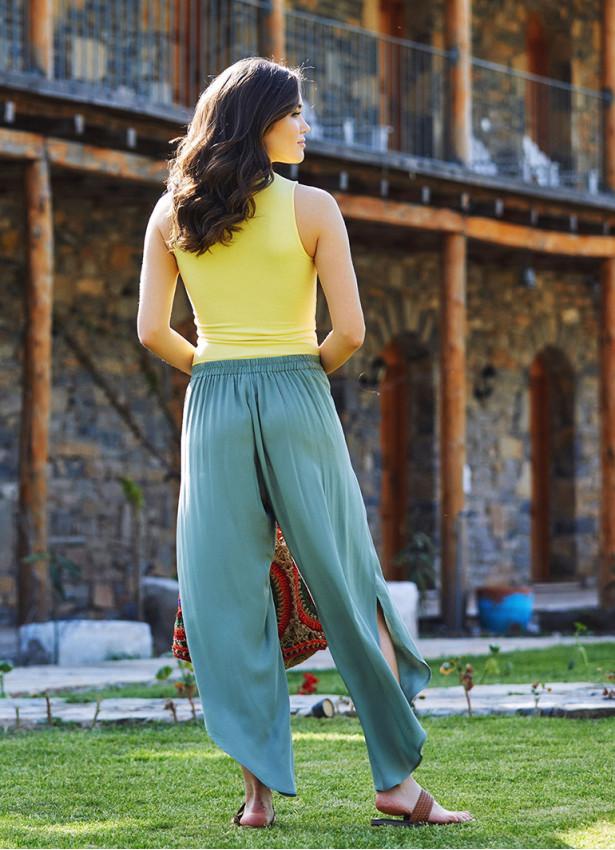 Bohem Stil Geniş Paça Haki Pantolon