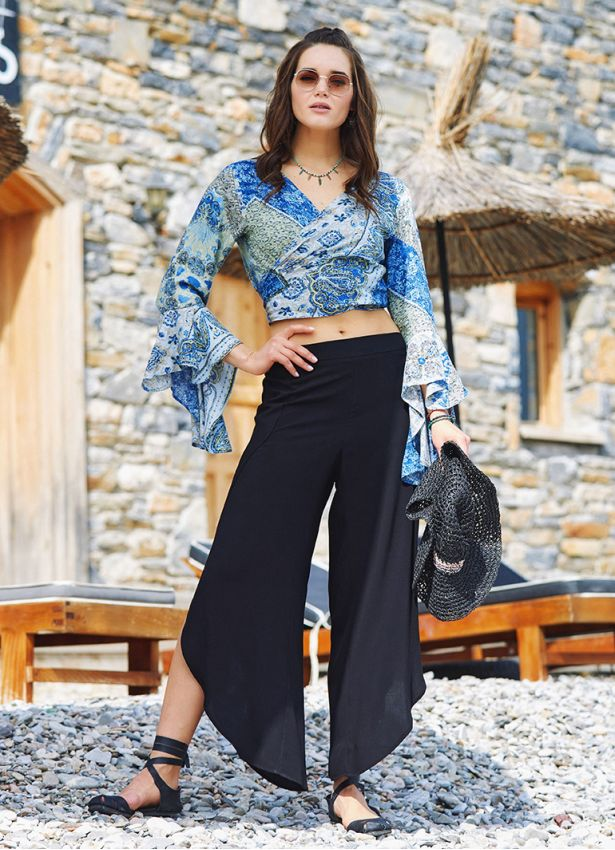 Bohem Stil Geniş Paça Siyah Pantolon