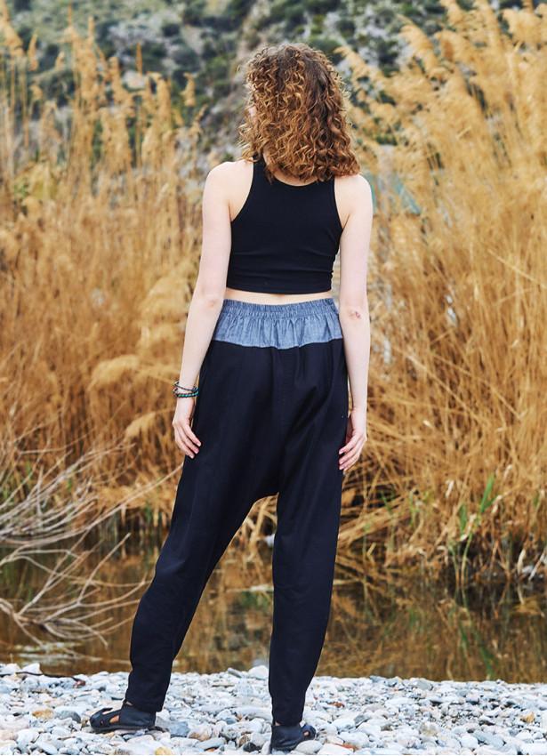 Siyah Bohem Tarz Şık Şalvar Kadın Pantolon
