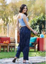 Gri Pileli Şalvar Pantolon
