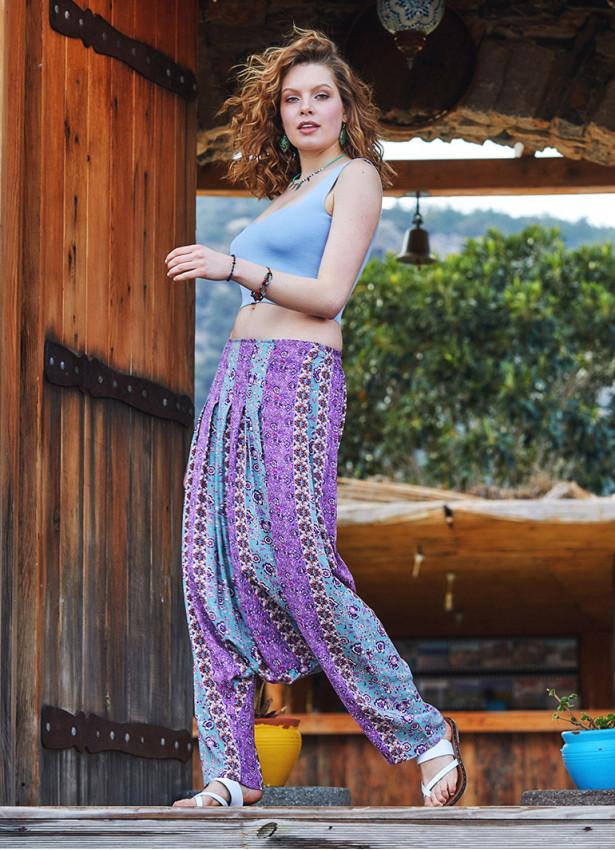 Çiçekli Pileli Şalvar Pantolon