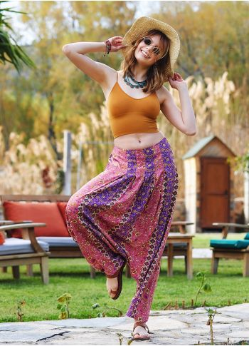 Pembe Deseni Pileli Şalvar Pantolon