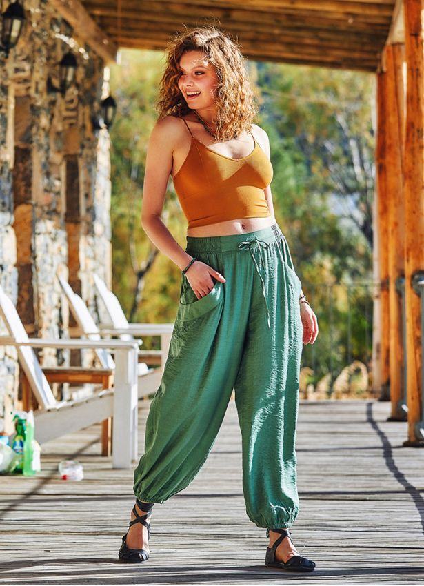 Yeşil Bohem Stil Paça Lastikli Pantolon