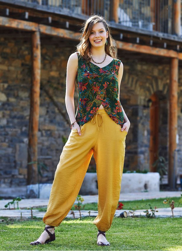 Sarı Bohem Stil Paça Lastikli Pantolon