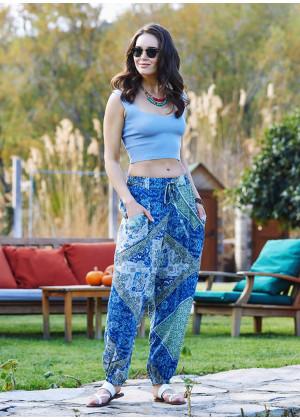 Mavi Desenli Bohem Stil Dökümlü Şalvar Pantolon