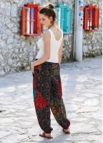 Otantik Desenli Bohem Stil Dökümlü Şalvar Pantolon
