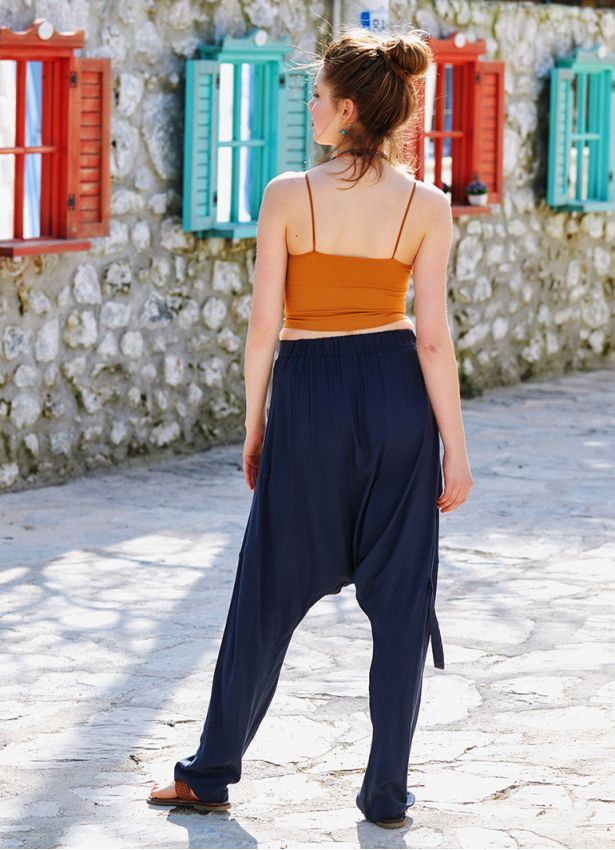Antrasit Bohem Stil Tasarım Şalvar Pantolon