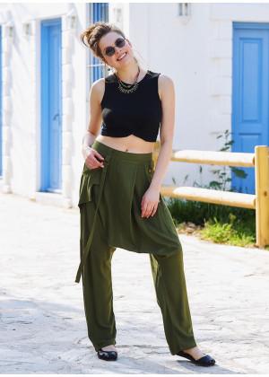 Haki Bohem Stil Tasarım Şalvar Pantolon