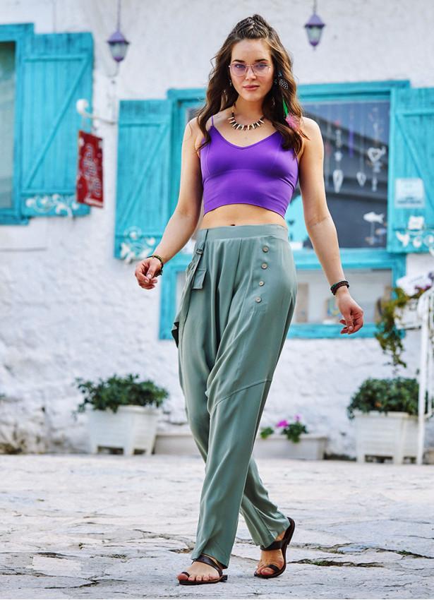 Açık Yeşil Bohem Stil Tasarım Şalvar Pantolon