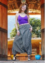 Hitit Desenli Doğal Düğmeli Cepli Kadın Şalvar Pantolon