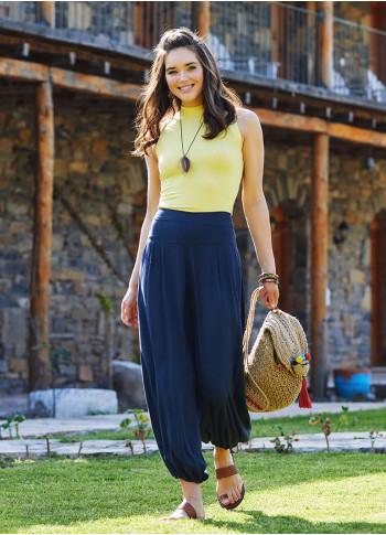 Antrasit Dökümlü Beli Lastikli Kadın Şalvar Pantolon