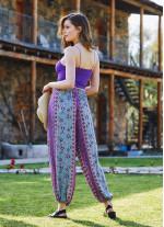 Mavi Çiçekli Dökümlü Beli Lastikli Kadın Şalvar Pantolon