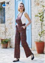 Retro Desen Bahçıvan Bol Paça Salopet Kadın Tulum