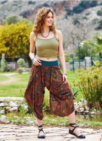 Kahve Desenli Yırtmaçlı Dökümlü Kadın Şalvar Pantolon