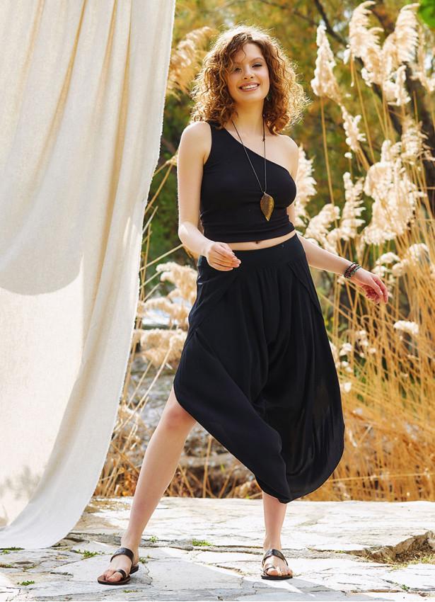 Ribana Bel Dökümlü Yırtmaçlı Siyah Şalvar Pantolon