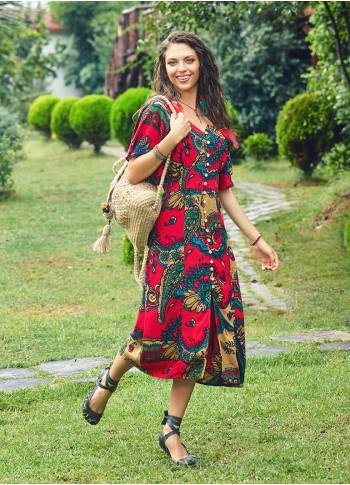 Yarasa Kollu Bohem Elbise
