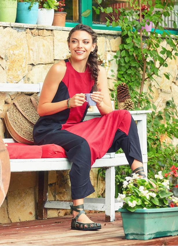 Halter Yaka Dekolteli Siyah-Kırmızı Tulum Elbise