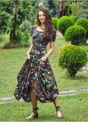 Amazon Desenli Cepli Yarım Kollu Uzun Siyah Elbise