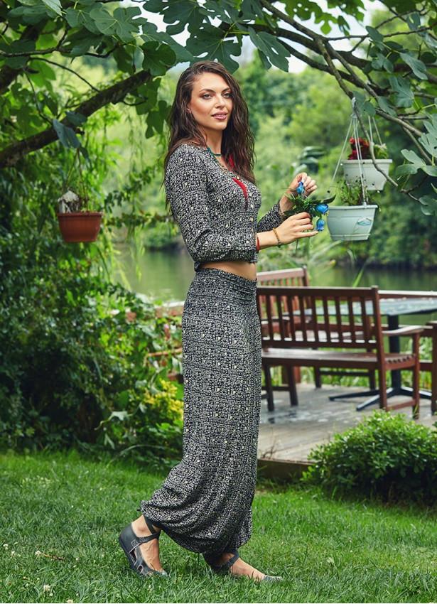 Etnik Desenli Gipe Bel Detaylı Şalvar Yoga Pantolon