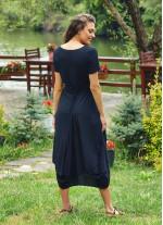 Havuz Yaka Ön Cepli Yarım Kollu Uzun Hamile Elbise