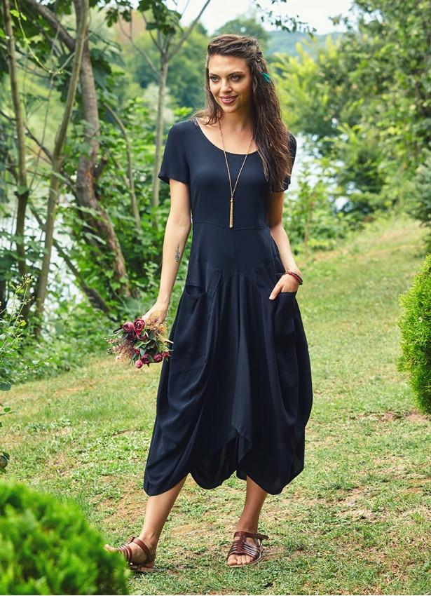 Bohem Tarz Cepli Yarım Kollu Uzun Siyah Elbise
