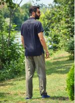 Rahat Kesim Düğmeli Kısa Kollu Siyah Erkek Gömlek