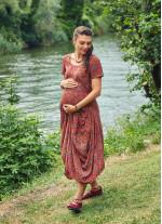 Desenli Havuz Yaka Bağcıklı Uzun Hamile Elbise