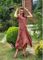 Retro Desenli Havuz Yaka Ön Cepli Uzun Elbise