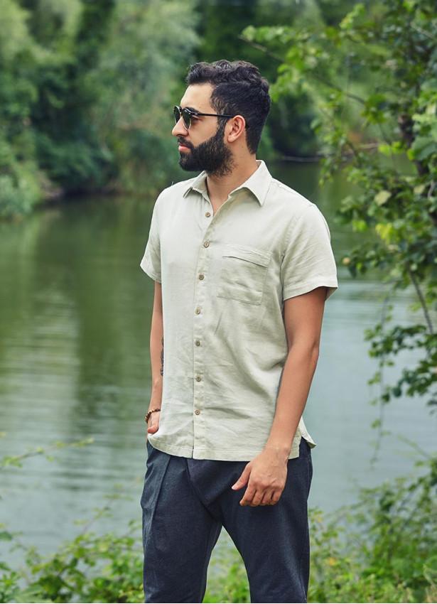 Rahat Kesim Düğmeli Cepli Kısa Kollu Erkek Gömlek