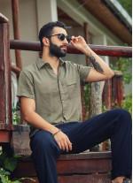 Rahat Kesim Düğmeli Kısa Kollu Haki Erkek Gömlek