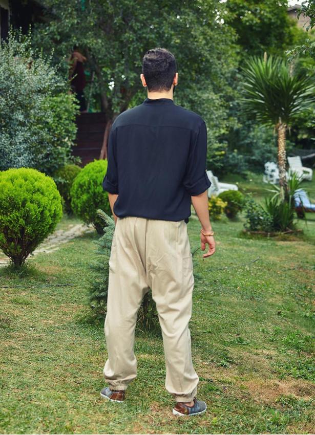 Hakim Yaka Ayarlanabilir Kol Boyu Erkek Gömlek