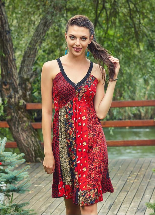 Dantel Yaka Askılı Kırmızı Yazlık Elbise