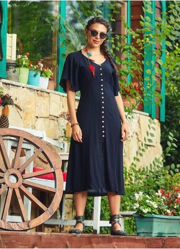 Yarasa Kollu Düğmeli V Yaka Siyah Bohem Elbise