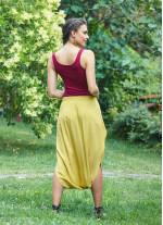 Kapri Düşük Lastikli Bel Sarı Salaş Etek Pantolon