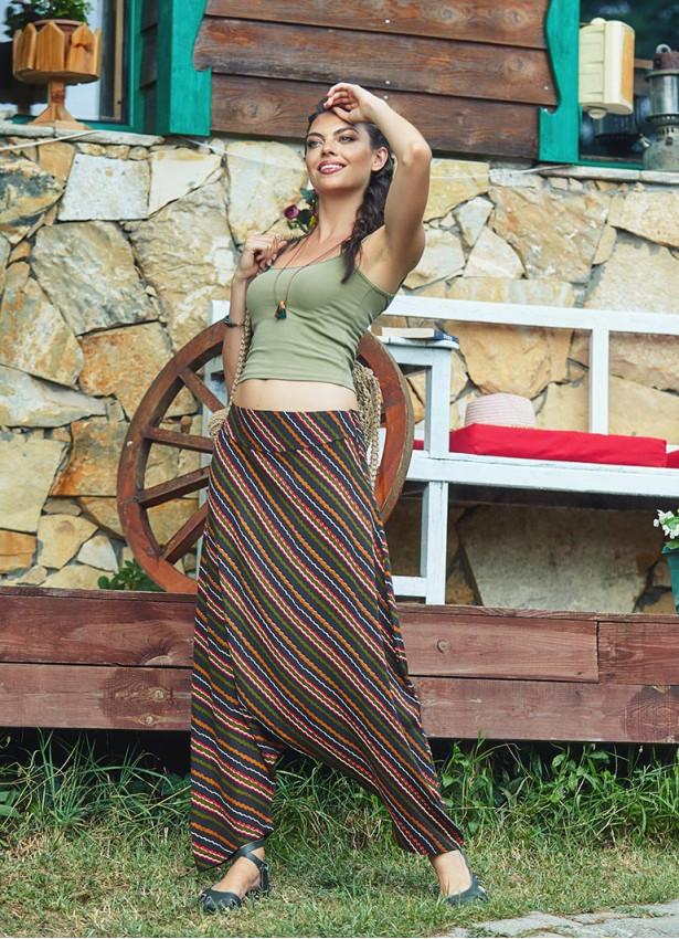 Düşük Bel Fermuarlı Çizgili Kadın Şalvar Pantolon