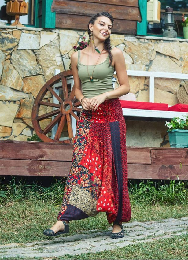 Etnik Desenli Patch Gipe Bel Kadın Kırmızı Şalvar