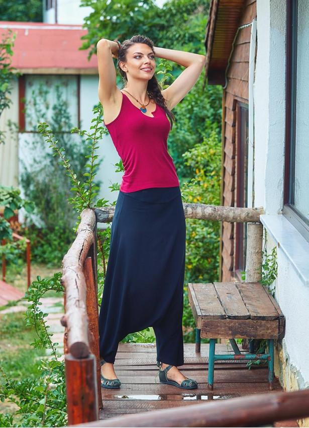 Bohem Tarz Fermuarlı Kadın Siyah Şalvar Pantolon