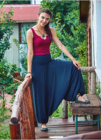 Gipe Bel Detaylı Antresit Kadın Şalvar Pantolon