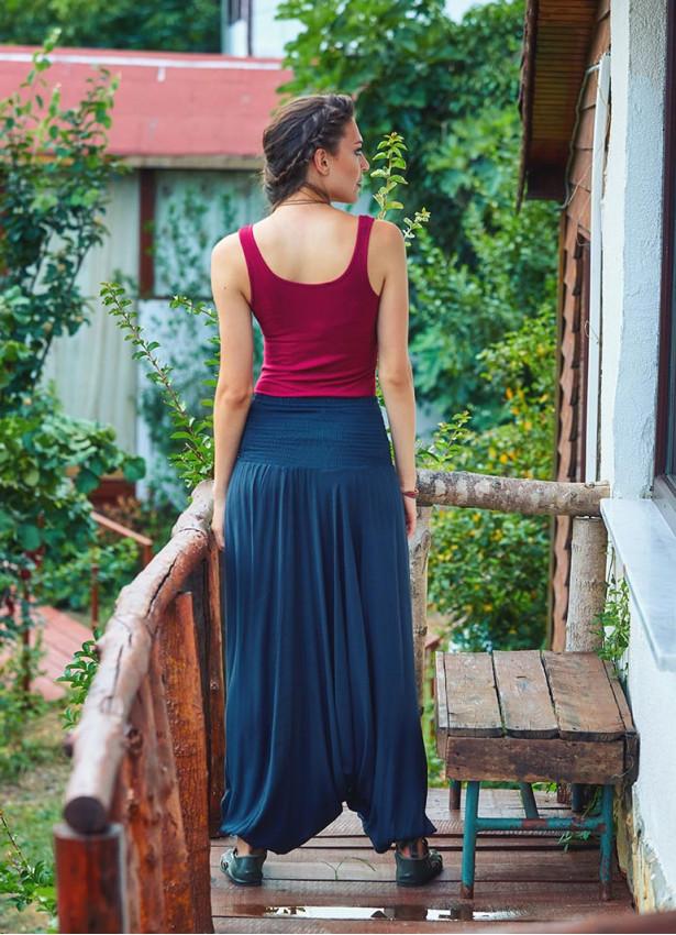 Gipe Bel Detaylı Antrasit Kadın Şalvar Pantolon